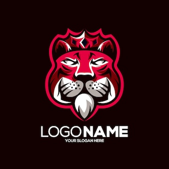 Création de logo mascotte roi tigre