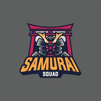 Création de logo mascotte samouraï guerrier isolé sur gris