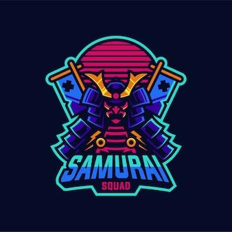 Création de logo de mascotte samurai squad isolée sur bleu foncé