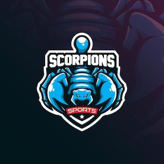 Création de logo de mascotte scorpion avec un style de concept d'illustration moderne pour l'impression d'insignes, d'emblèmes et de t-shirts.