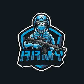 Création de logo de mascotte de soldat de l'armée