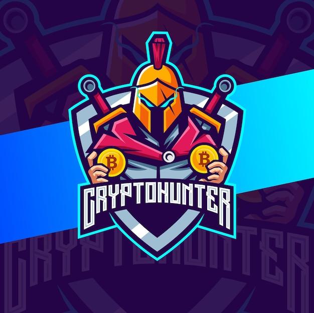 Création de logo de mascotte spartiate de chasseur de crypto