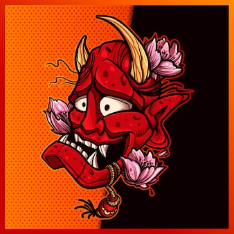 Création de logo de mascotte de sport et d'esport de masque japonais