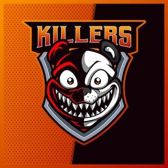 Création de logo de mascotte de sport et d'esport de panda killers
