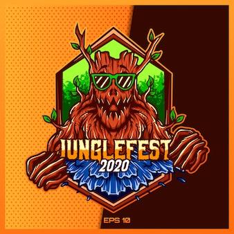 Création de logo de mascotte de sport et de monstre d'arbre cool dans le concept d'illustration moderne pour l'emblème de badge d'équipe et l'impression de soif. illustration de festival de jungle sur fond d'or jaune. illustration