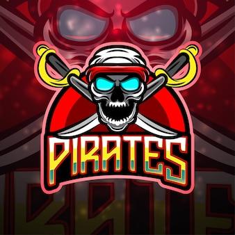 Création de logo de mascotte de sport pirates