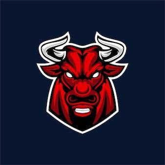Création de logo de mascotte de taureau isolée sur bleu foncé
