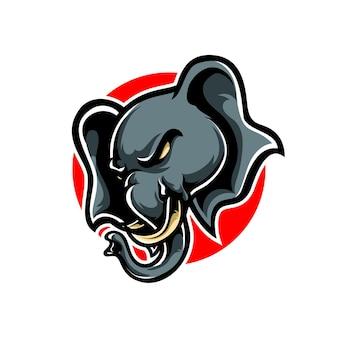 Création de logo de mascotte tête d'éléphant