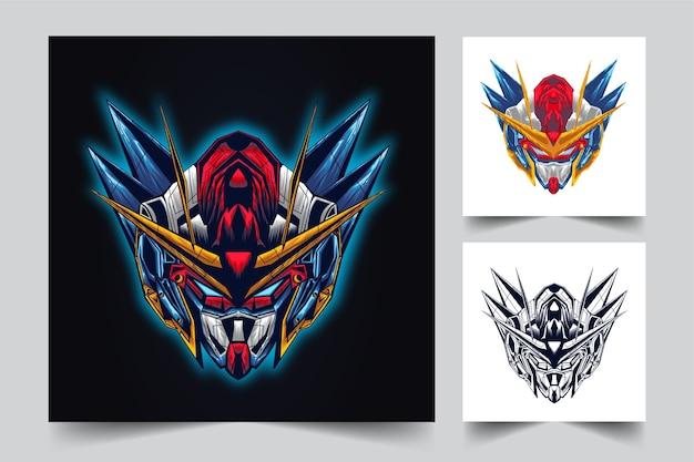 Création de logo de mascotte tête gundam avec style concept illustration moderne pour budge, emblème