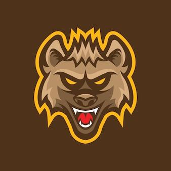 Création de logo de mascotte tête hyène