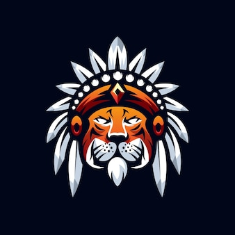 Création de logo de mascotte de tigre isolé sur bleu foncé