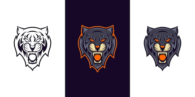 Création de logo mascotte tigre sauvage e sport