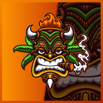 Création de logo de mascotte tiki mask cannabis smoke.