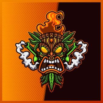 Création de logo de mascotte tiki mask cannabis.