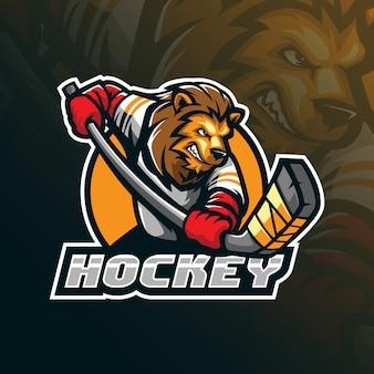Création de logo de mascotte de vecteur de hockey avec illustration moderne