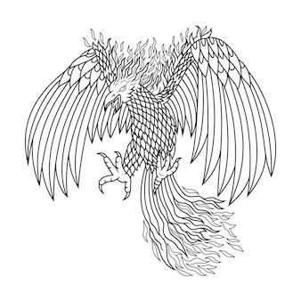 Création de logo de mascotte vintage phoenix