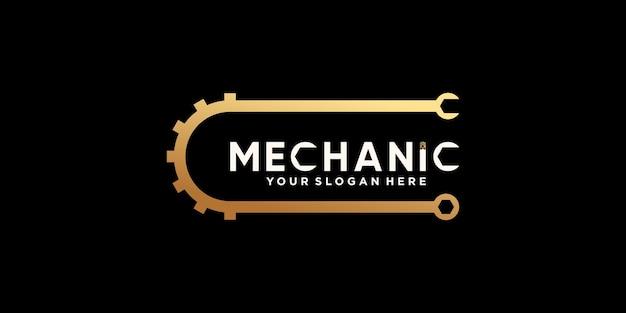 Création de logo de mécanicien créatif avec engrenage et clé en couleur de style dégradé doré vecteur premium
