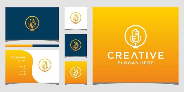 Création de logo de micro de musique avec modèle de carte de visite
