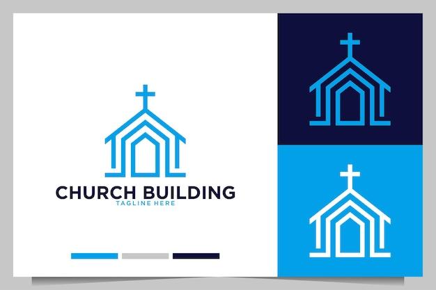 Création de logo moderne de bâtiment d'église