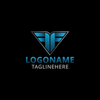 Création de logo moderne double lettre f