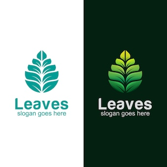 Création de logo moderne de feuilles vertes