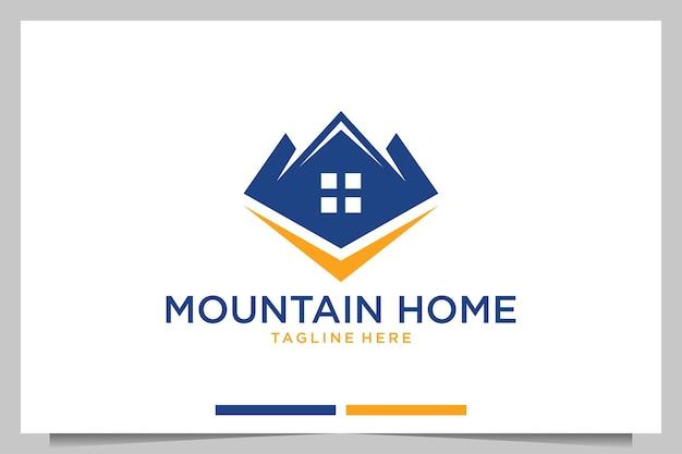 Création de logo moderne de maison de montagne