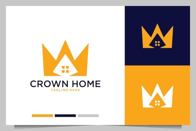 Création de logo moderne pour l'immobilier à la maison de la couronne