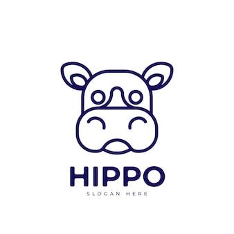 Création de logo monoline ceative hippopotame mignon