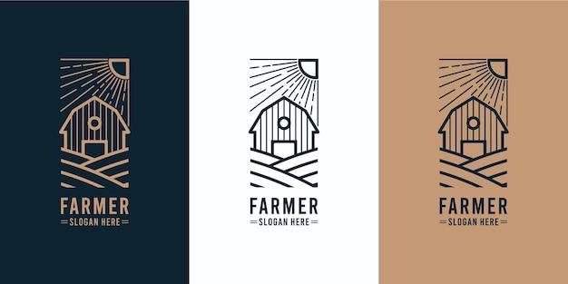 Création de logo monoline de ferme de grange