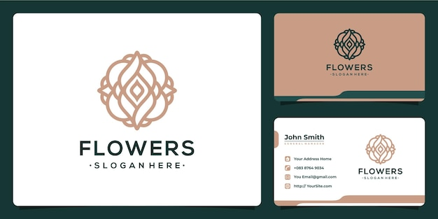 Création de logo monoline luxueux de fleurs avec carte de visite