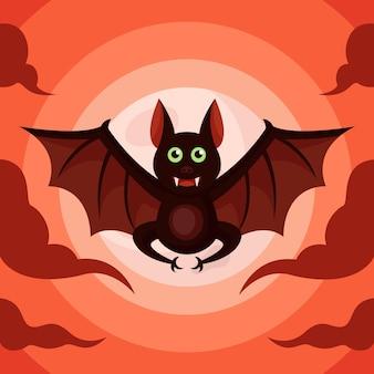 Création de logo de monstre de chauve-souris pour l'affiche ou l'arrière-plan d'halloween