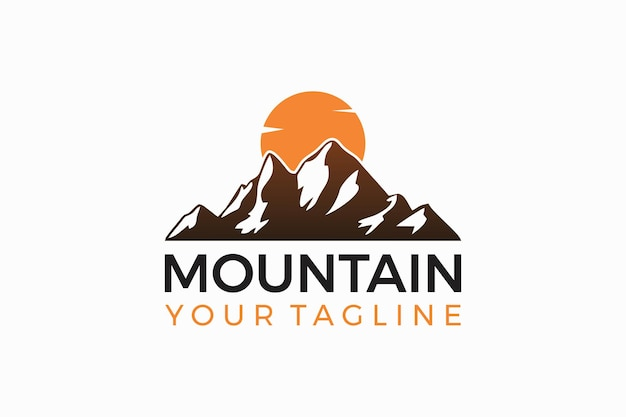 Création de logo de montagne création de logo de montagne et coucher de soleil