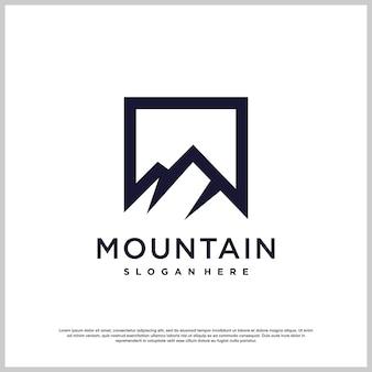 Création de logo de montagne avec un style créatif moderne vecteur premium
