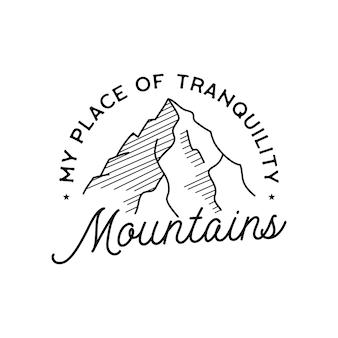 Création de logo de montagnes simples vintage. logo d'art de ligne d'aventure en plein air.
