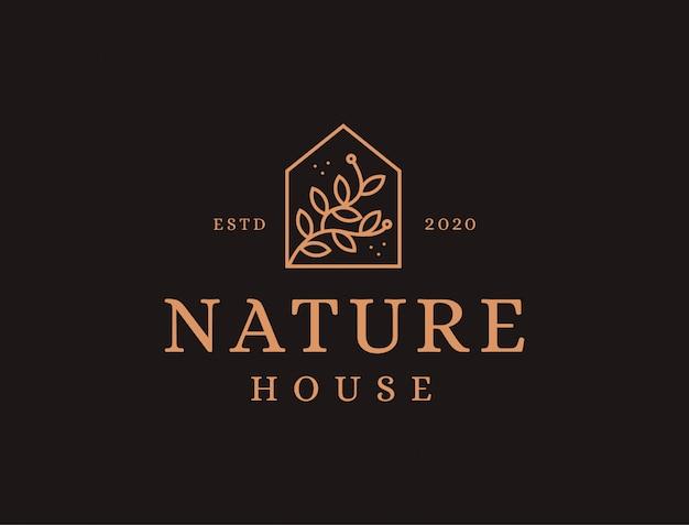 Création de logo nature house avec style lineart, forme de maison et laisse le modèle d'icône logo branche