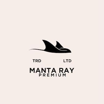 Création de logo noir premium raie manta vector
