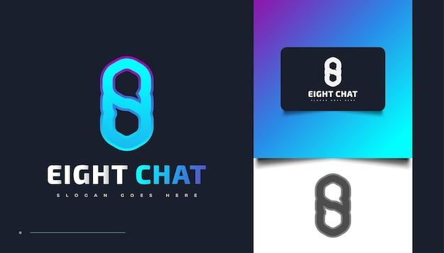 Création de logo numéro huit avec chat ou symbole de message. modèle de conception de logo huit chat en dégradé bleu