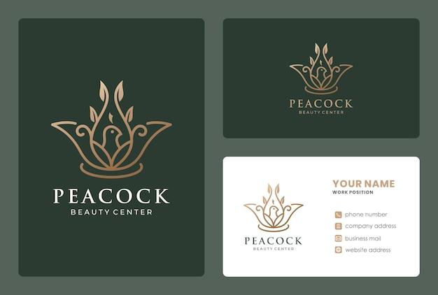 Création de logo d'oiseau combiné branche de lotus avec carte de visite