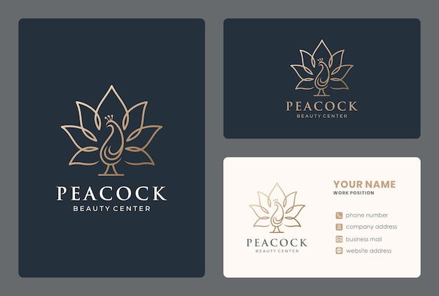 Création de logo d'oiseau combiné fleur de lotus avec carte de visite