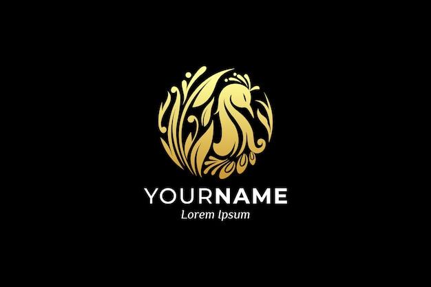 Création de logo d'oiseau ornemental de luxe