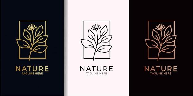 Création de logo or nature feuille elegan