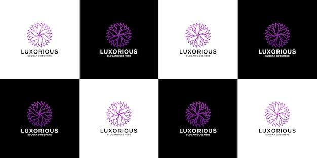 Création de logo d'ornement de fleur de lot luxueux
