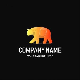 Création de logo d'ours coloré. logo animal style dégradé