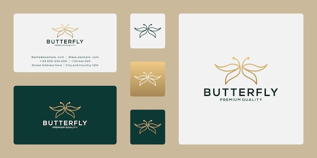 Création de logo de papillon de beauté avec la couleur dorée