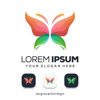 Création de logo papillon coloré isolé sur blanc