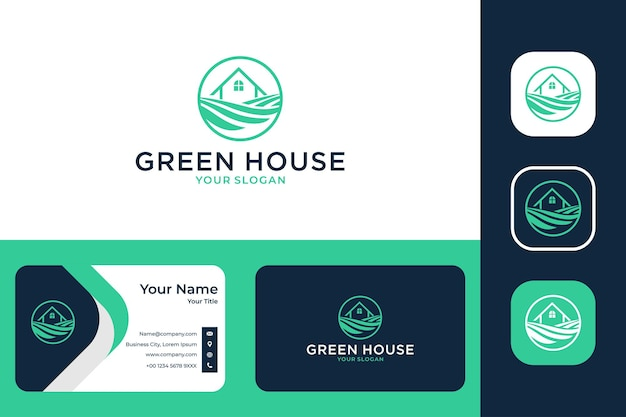 Création de logo de paysage de maison verte et carte de visite