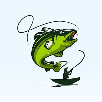 Création de logo de pêche vintage isolée sur bleu clair