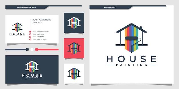 Création De Logo De Peinture De Maison Avec Concept De Combinaison De Couleurs De Peinture Et Carte De Visite Premium Vecto Vecteur Premium