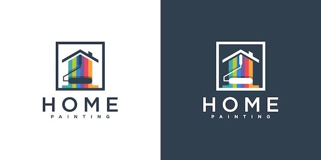 Création de logo de peinture à la maison de luxe avec un style moderne et coloré premium vektor