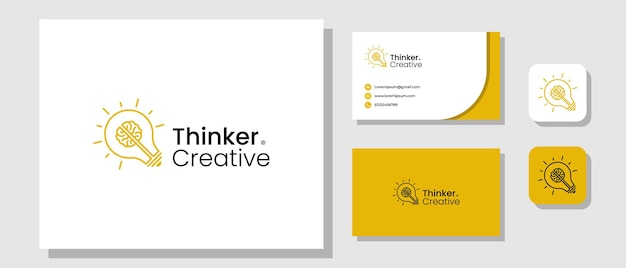 Création de logo de penseur créatif avec ampoule et modèle de mise en page du cerveau identité de la marque